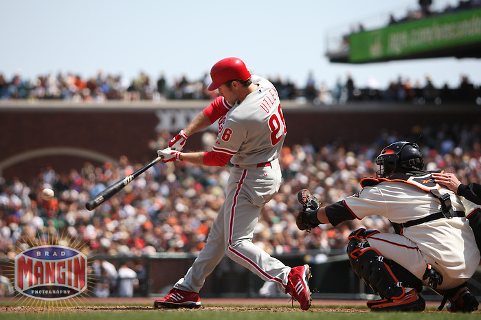 SAN FRANCISCO - MAY 10:  Chase Utley of the Philadelphia Phillies bats during the game against the San Francisco Giants at AT&T Park in San Francisco, California on May 10, 2008. Photo by Brad Mangin