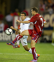 USA's Jonathan Bornstein fights for the ball with the Czech Republic's Libor Sionko (7) during an international friendly tune up match for the 2012 World Cup, in Hartford, CT, 05/25/10. The Czech Republic defeated the USA 4-2.