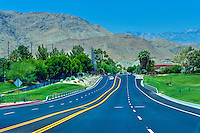 Portola Drive, Palm Desert CA, New Paved Road, Painted Dividers, going down hill