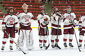 Victor Newell (Harvard - 28), Steve Michalek (Harvard - 34), Greg Gozzo (Harvard - 13), Danny Fick (Harvard - 7), David Valek (Harvard - 23) - The Harvard University Crimson honored their seniors following their final home game of the regular season on Saturday, February 22, 2014 at the Bright-Landry Hockey Center in Cambridge, Massachusetts.