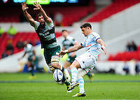 Dan Carter of Racing 92 puts boot to ball. European Rugby Champions Cup semi final, between Leicester Tigers and Racing 92 on April 24, 2016 at The City Ground in Nottingham, England. Photo by: Patrick Khachfe / JMP