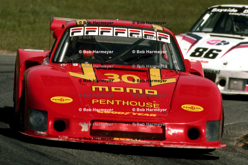 MONTEREY, CA - MAY 3: Gianpiero Moretti drives the MOMO/Penthouse Porsche 935/78-81 JR-001 during the IMSA GT race at Laguna Seca Raceway near Monterey, California, on May 3, 1981.