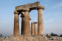 CORINTH, GREECE - APRIL 16 : A view from below of the Temple of Apollo, on April 16, 2007 in Corinth, Greece. Standing prominently on a knoll the Temple of Apollo was built in the 7th century BC in the Doric Order. Seven of its original 38 columns remain standing and are seen here in the early morning light. It is one of the oldest temples in Greece. Corinth, founded in Neolithic times, was a major Ancient Greek city, until it was razed by the Romans in 146 BC. Rebuilt a century later it was destroyed by an earthquake in Byzantine times. (Photo by Manuel Cohen)