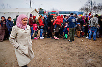 Refugees live gas station near the Greece-Macedonian border