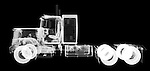 X-ray image of a semi tractor (white on black) by Jim Wehtje, specialist in x-ray art and design images.