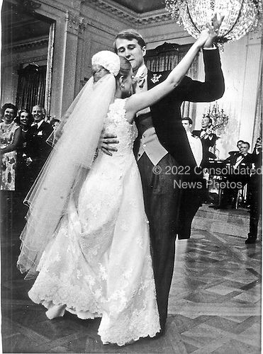 Washington, D.C. - June 12, 1971 -- Edward Cox dances the first dance with his new bride, Tricia Nixon Cox, at the reception in the East Room of the White House in Washington, D.C. on Saturday, June 12, 1971.  More than 400 guests attended the affair..Credit: Pool via CNP