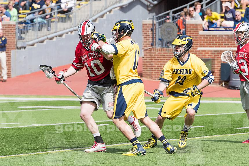 The University of Michigan men's lacrosse team,13-8 loss to Ohio State University at Michigan Stadium in Ann Arbor, Mich., on Apr. 12, 2015.