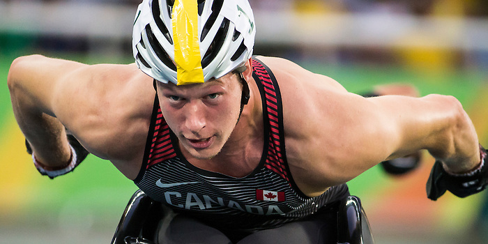 RIO DE JANEIRO - 17/9/2016:  Tristan Smyth competes in the men's 4x400 relay final at the Olympic Stadium during the Rio 2016 Paralympic Games. (Photo by Dave Holland/Canadian Paralympic Committee).