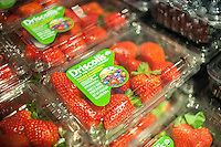 Driscoll's brand Mexico grown organic strawberries in the new Whole Foods Market opposite Bryant Park in New York on opening day Saturday, January 28, 2017. The store in Midtown Manhattan is the chain's 11th store to open in the city. The store has a large selection of prepared foods from a diverse group of vendors inside the store.  (© Richard B. Levine)