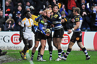 Tom Homer of Bath Rugby is congratulated on his second half try. Aviva Premiership match, between Bath Rugby and Wasps on February 20, 2016 at the Recreation Ground in Bath, England. Photo by: Patrick Khachfe / Onside Images