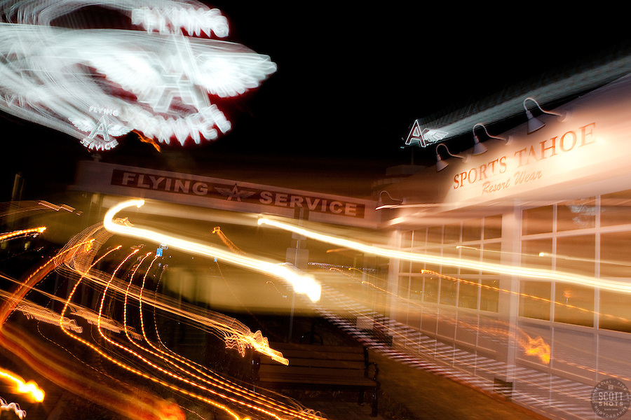 """Flying A Service, Truckee"" - This old service station is located in Downtown Truckee, CA. The effect was achieved by zooming the lens during a long exposure."