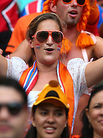 A Netherlands supporter soaks up the pre match atmosphere