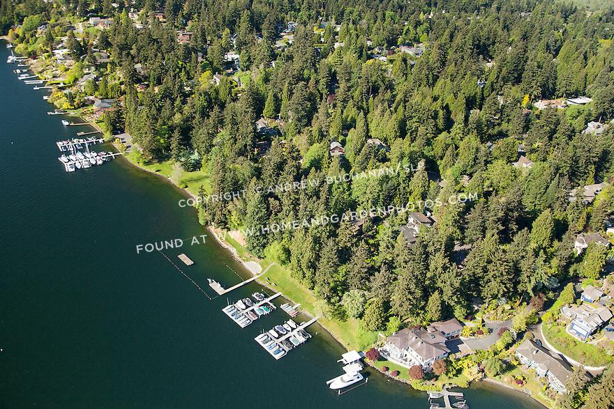 aerial photo of Beaux Arts Village, a community on the shores on Lake Washington