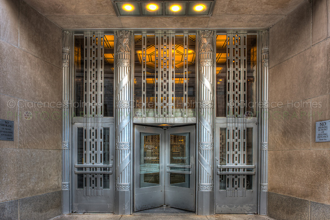 The art deco entrance to the Church Street Post Office Building in New York City, New York.