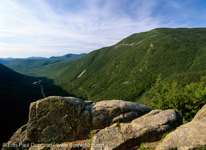Crawford Notch State Park from Mount Willard in the White Mountain National Forest in New Hamsphire USA. Mount Willey can be seen on the right.