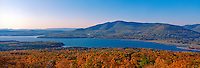 Ashokan Reservoir, Catskill Park, New York, Fall, Panorama clear blue sky