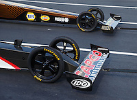Sep 16, 2016; Concord, NC, USA; Detailed view of the front wing and wheels on the dragster of NHRA top fuel driver Steve Torrence during qualifying for the Carolina Nationals at zMax Dragway. Mandatory Credit: Mark J. Rebilas-USA TODAY Sports