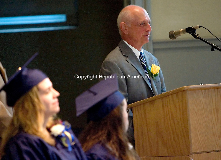 FALLS VILLAGE, CT- 22 MAY 2008- 052208JT11- <br /> Frank Ruotolo, Foothills Adult and Continuing Education Program site coordinator for Region One, speaks during commencement exercises on Thursday at Housatonic Valley Regional High School in Falls Village. Ruotolo is retiring after this school year after working in adult education since 1974. Visit www.rep-am.com to view a gallery of this event.<br /> Josalee Thrift / Republican-American