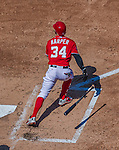 23 August 2015: Washington Nationals outfielder Bryce Harper in action against the Milwaukee Brewers at Nationals Park in Washington, DC. The Nationals defeated the Brewers 9-5 in the third game of their 3-game weekend series. Mandatory Credit: Ed Wolfstein Photo *** RAW (NEF) Image File Available ***