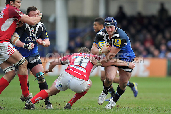 Carl Fearns goes on the attack. Aviva Premiership match, between Bath Rugby and London Welsh on March 30, 2013 at the Recreation Ground in Bath, England. Photo by: Patrick Khachfe / Onside Images