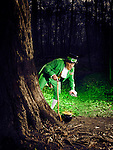 Leprechaun grabbing a pot of gold in a forest, artistic St. Patrick's holiday concept.