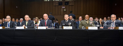 From left to right:   Andrew McCabe, Acting Director of the Federal Bureau of Investigation (FBI);  Michael Pompeo, Director of the Central Intelligence Agency (CIA); Daniel R. Coats, Director of National Intelligence (DNI); Admiral Michael Rogers, Director of the National Security Agency (NSA);  Lieutenant General Vincent Stewart, Director of the Defense Intelligence Agency (DIA); and Robert Cardillo, Director of the National Geospatial-Intelligence Agency (NGA); as appear on a panel to give testimony before the United States Senate Select Committee on Intelligence during an open hearing titled &quot;Worldwide Threats&quot; on Capitol Hill in Washington, DC on Thursday, May 11, 2017.  <br /> Credit: Ron Sachs / CNP<br /> (RESTRICTION: NO New York or New Jersey Newspapers or newspapers within a 75 mile radius of New York City)