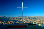 The cross at Mirador Andino Jach'a Qullu is part of a small park that overlooks the city of La Paz, Bolivia.