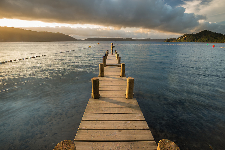 The Jetty, Lake Rotoma, Rotorua, New Zealand - stock, fine art, canvas print
