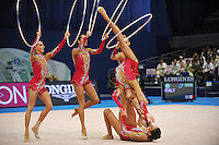 September 13, 2009; Mie, Japan;  Italian rhythmic group performs during 5-hoops Event Final after earlier winning gold in group All Around the day before at the 2009 World Championships Mie, Japan. (L-R) Romina Laurito, Elisa Blanchi, Elisa Santoni, Giulia Galtarossa, Anzhelika Savrayuk, Elisa Santoni (below). Photo by Tom Theobald. .