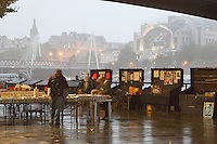 South Bank Book Market, under the Waterloo Bridge, with Golden Jubilee Bridge, cable-stayed, pedestrian bridge, Hungerford Bridge and floodlit Charing Cross station in the background, London, UK. Picture by Manuel Cohen