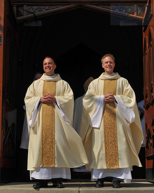 Rev. Gerry Olinger, C.S.C. (left) and Rev. Kevin Grove, C.S.C. after their ordination in the Basilica of the Sacred Heart April 10, 2010...Photo by Matt Cashore/University of Notre Dame