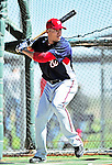 1 March 2010: Washington Nationals' shortstop Ian Desmond takes batting practice during Spring Training at the Carl Barger Baseball Complex in Viera, Florida. Mandatory Credit: Ed Wolfstein Photo