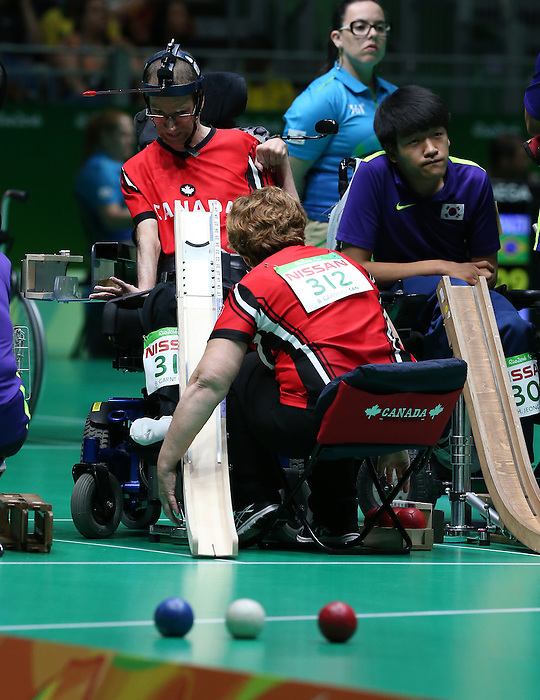 Rio de Janeiro-10/9/2016-Bruno Garneau competes in the mixed bocci event against Korea at the 2016 Paralympic Games in Rio. Photo Scott Grant/Canadian Paralympic Committee