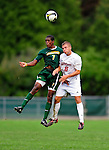 13 September 2009: University of Vermont Catamount forward/midfielder T.J. Gore (7), a Senior from Macomb, MI, battles University of Massachusetts Minutemen midfielder Matthew Hess (8), a Junior from New Holland, PA, during the second round of the 2009 Morgan Stanley Smith Barney Soccer Classic held at Centennial Field in Burlington, Vermont. The Catamounts and Minutemen battled to a 1-1 double-overtime tie. Mandatory Photo Credit: Ed Wolfstein Photo