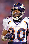 17 December 2005: Denver Broncos wide receiver Rod Smith trots back to the bench after a play against the Buffalo Bills at Ralph Wilson Stadium in Orchard Park, NY. The Broncos defeated the Bills 28-17. .Mandatory Photo Credit: Ed Wolfstein