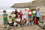 Pacific Elementary School Student Group On Beach Cleanup