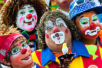 Clowns from Central America, participants of the Clown Congress, pose for a group picture in San Salvador, El Salvador, 18 May 2011. The clown performance is considered a regular job in most of Latin American countries. Clowns may work individually or in groups, often performing advertisement like acts in large open-to-street shops or they take part in private shows, like children birthdays, family events etc. There are many clown conventions all over Latin America where clowns gather and exchange their experiences offering workshops of the comic acting or the art of make-up. For some of them, being clown is a serious lifetime profession.