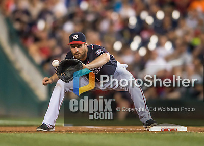 22 July 2016: Washington Nationals infielder Daniel Murphy gets the out at first in the 8th inning against the San Diego Padres at Nationals Park in Washington, DC. The Padres defeated the Nationals 5-3 to take the first game of their 3-game, weekend series. Mandatory Credit: Ed Wolfstein Photo *** RAW (NEF) Image File Available ***