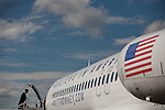 Republican vice presidential candidate Rep. Paul Ryan's boards his campaign plane at Tampa International Airport in Tampa, Florida, October 19, 2012.