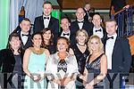 Front row l-r: Patricia Lydon, Alanna Maharaj, Noelle O'Brien, middle row: David Corcoran, Sharon O'Connor, Batt Lawlor, Ciara and Russell Fleming, Back row: John tuite and Mike Foley at the Kerry GAA gala ball in the INEC on Saturday night