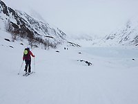 Skiløpere på vei innover langs Bergsfjordvatnet i Loppa. ---- Skiers in spring conditions.