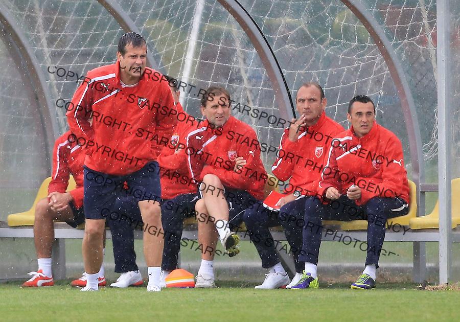Fudbal season 2013-2014<br /> FK Crvena Zvezda pripreme<br /> Prijateljski mec<br /> Crvena Zvezda v Verzej<br /> Head coach Nenad Lalatovic (L) Bratislav Zivkovic Nebojsa Milosevic and Dragan Sarac<br /> Brezice, 07.09.2014.<br /> foto: Srdjan Stevanovic/Starsportphoto &copy;