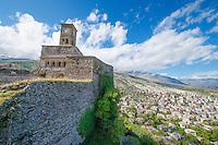 Gjirokastra Castle, Albania Finest example of Ottoman-style city in Albania, City climbing slopes of Mount Gjere, Near Adriatic Sea  UNESCO World Heritage Site
