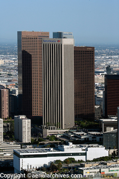 aerial photograph Wells Fargo and Bank of America towers, downtown Los Angeles, California
