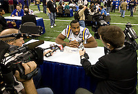 Michael Ford of LSU talks with the reporters during BCS Media Day at Mercedes-Benz Superdome in New Orleans, Louisiana on January 6th, 2012.