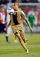 Philadelphia Union midfielder Fred (7) traps the ball off his chest while moving forward. The Philadelphia Union and CD Chivas USA played to 1-1 draw at Home Depot Center stadium in Carson, California on Saturday evening July 3, 2010..