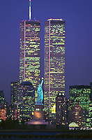 Statue of Liberty Between Twin Towers, World Trade Center at Twilight, New York City, New Jersey,  New York, designed Minoru Yamasaki