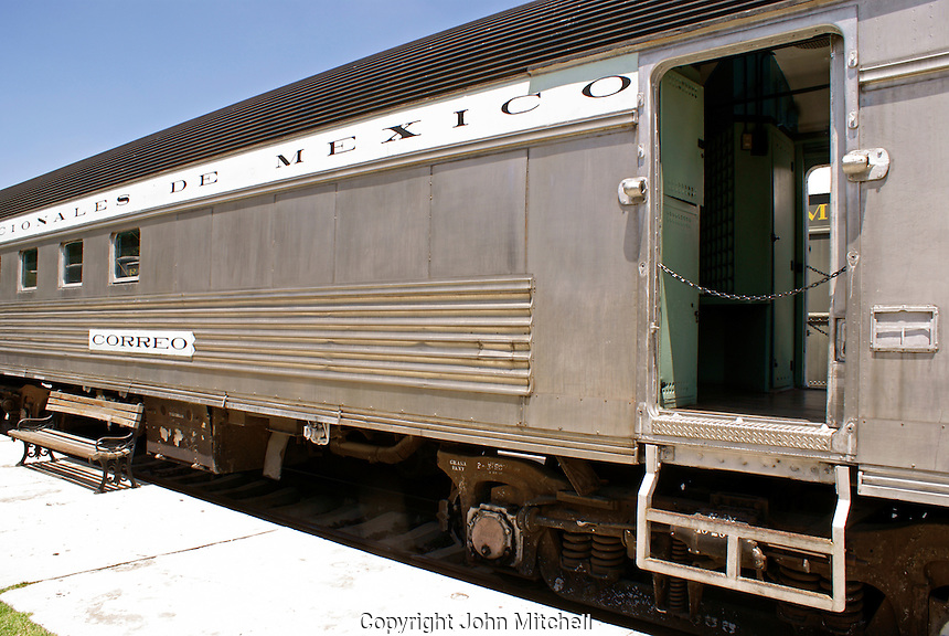 Mail car at the Museo Nacional de los Ferrocarriles Mexicanos or National Railway Museum in the city of Puebla, Mexico