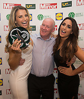 19/05/2015 <br /> Pat Fanning with Vogue Williams &amp; Nadia Forde<br /> during the Irish mirror pride of Ireland awards at the mansion house, Dublin.<br /> Photo: gareth chaney Collins