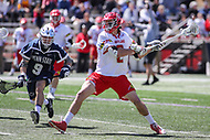 College Park, MD - April 8, 2017: Maryland Terrapins Colin Heacock (2) scores a goal during game between Penn State and Maryland at  Capital One Field at Maryland Stadium in College Park, MD.  (Photo by Elliott Brown/Media Images International)